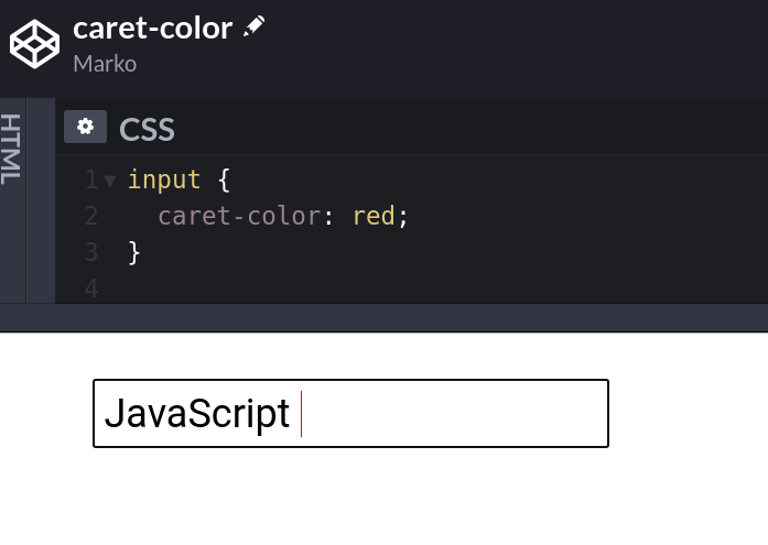 Caret Color example codepen preview.