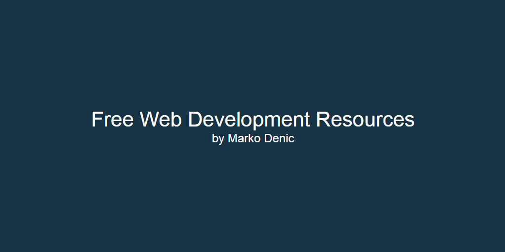 Free Web Development Resources