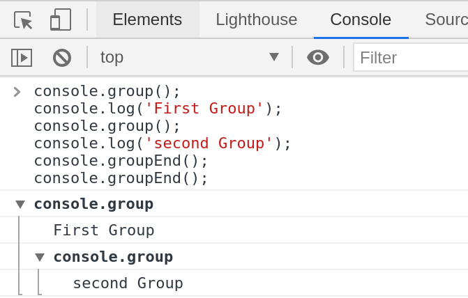 console.group() and console.groupEnd()