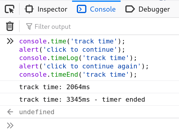 console.timer() and console.timeEnd()