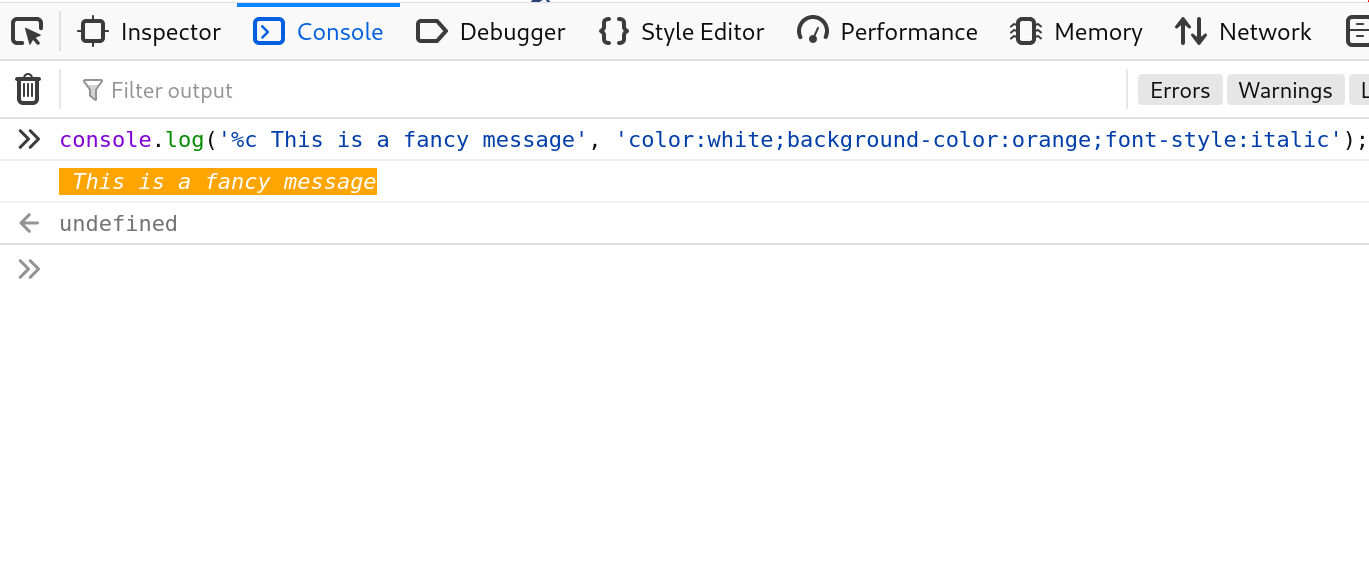 console.log() CSS
