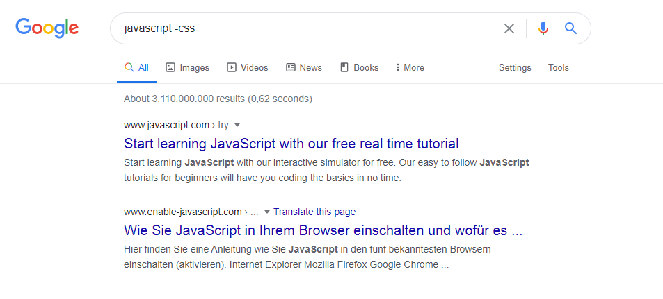 Google search with - operator example