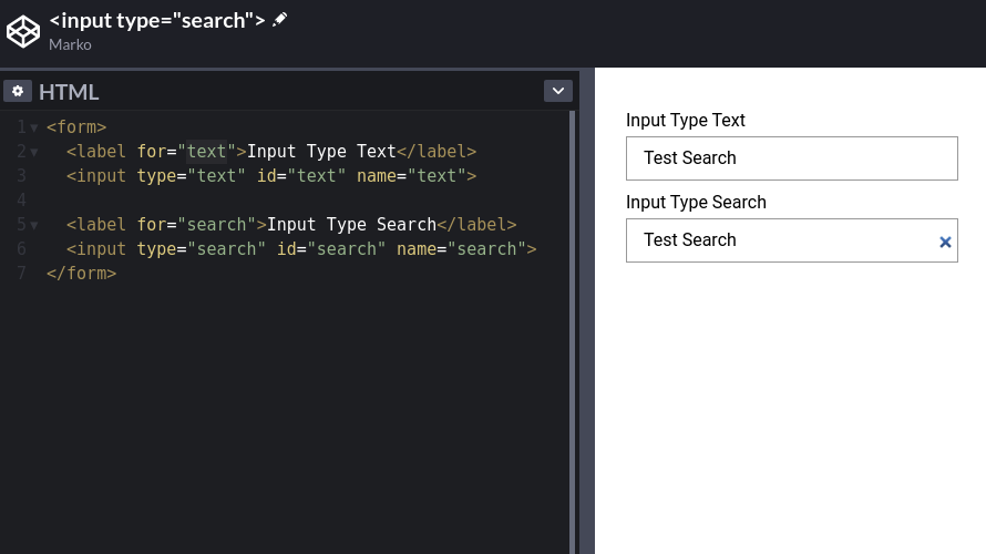 Input Type Search